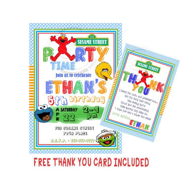 Elmo Printable Invitation- Personalized Elmo Birthday DIY Digital File-Sesame Street Birthday Invitation with FREE Thank you Card by StudioIdea on Etsy