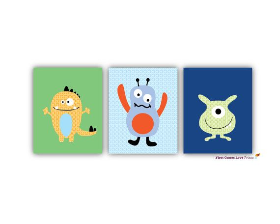 Monster Buds Art Prints - 8x10 Three Piece Set - Nursery Decor - Wall Art - Kids Decor - Monster bedroom on Etsy, $28.00