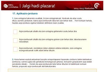 Ikastaroa: Jalgi hadi plazara!, Gaia: 17 Aplikazio-jarduera
