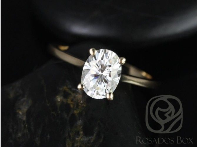 Rosados Box Skinny Lois 8x6mm 14kt Yellow Gold Oval FB Moissanite (although I would love it with a center diamond) Tulip Cathedral Solitaire Engagement Ring.