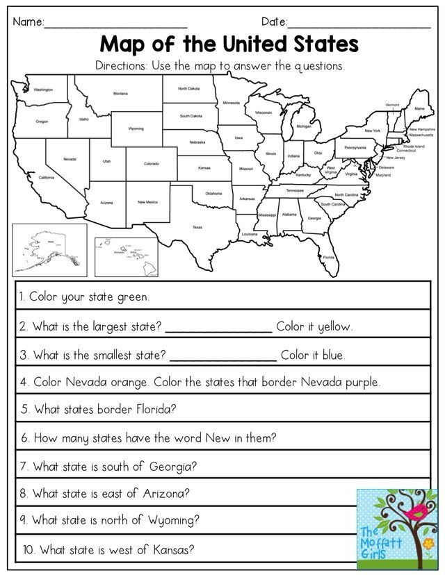 FREE US map elementary worksheet