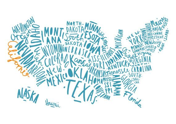 A4 USA Map print United States Map Typography by OldEnglishCo
