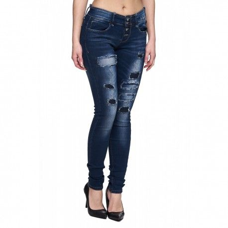 intueriecommerce.com  Vaqueros de mujer con rotos Jeans de mujer de pantalón largo super ajustados y cómodos muy de moda, con rotos y desgastados. Colores: Azul Jeans Clásico Desgastado Tallas: de la 34 a la 42