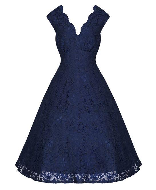 Tmavě modré krajkové šaty