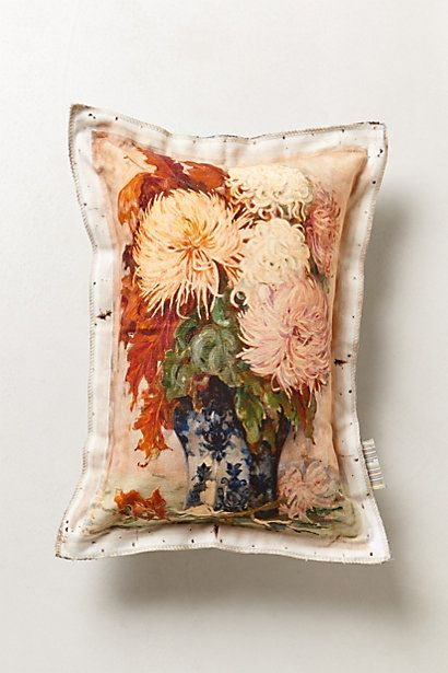 Chrysanthemum Pillow Anthropologie. Not sure how comfy a painting pillow would be, but looks cool.