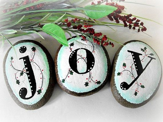 Christmas Joy, Hand Painted Rock Art, Home Decor, Painted Stone, Rock Paperweight, Holiday Art, Gift Giving Exchange Idea, Unique Gift Idea