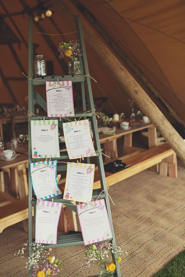 Vintage ladder table plan. Photography by www.lisajane-photography.com