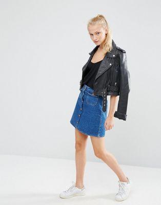 ASOS Denim Button Through Skirt with Pockets in Dark Vintage Wash