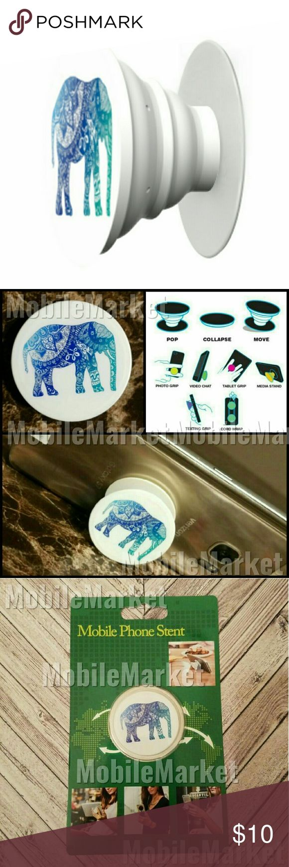 Mobile phone grip/stand ombre elephant blue teal *this is an individual listing for 1 phone stand, color is according to first picture*  Pop, tilt, wrap, grip, collapse, repeat! Mobile phone stent. Have a secure grip while calling, taking selfies, and texting. A socket for your phone! Use as a phone stand, portrait and landscape mode. and even to wrap your headphones around and prevent tangles and knots!! Retail packaging makes it the perfect gift! Mobile Market Accessories