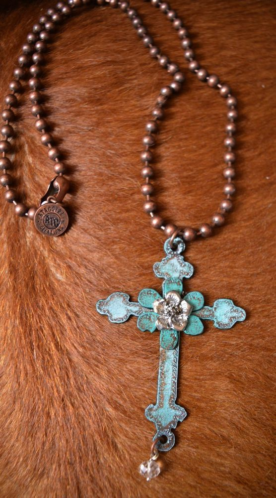 COWGIRL BLING NECKLACE  Turquoise CROSS  Copper ARTISAN CRAFTED USA Gypsy #ataggirl #NECKLACE