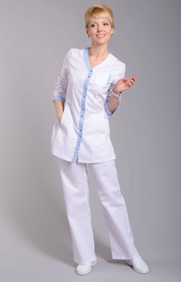 """Блуза медицинский женская """"Капель"""" с голубой отделкой"""