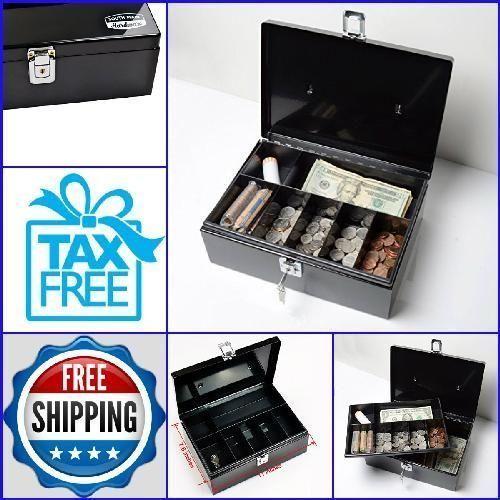 Security Ches-Cash Box-Home Safes Box Safe Lock Money Cash Storage-Medium-BLACK #SouthMainHardware
