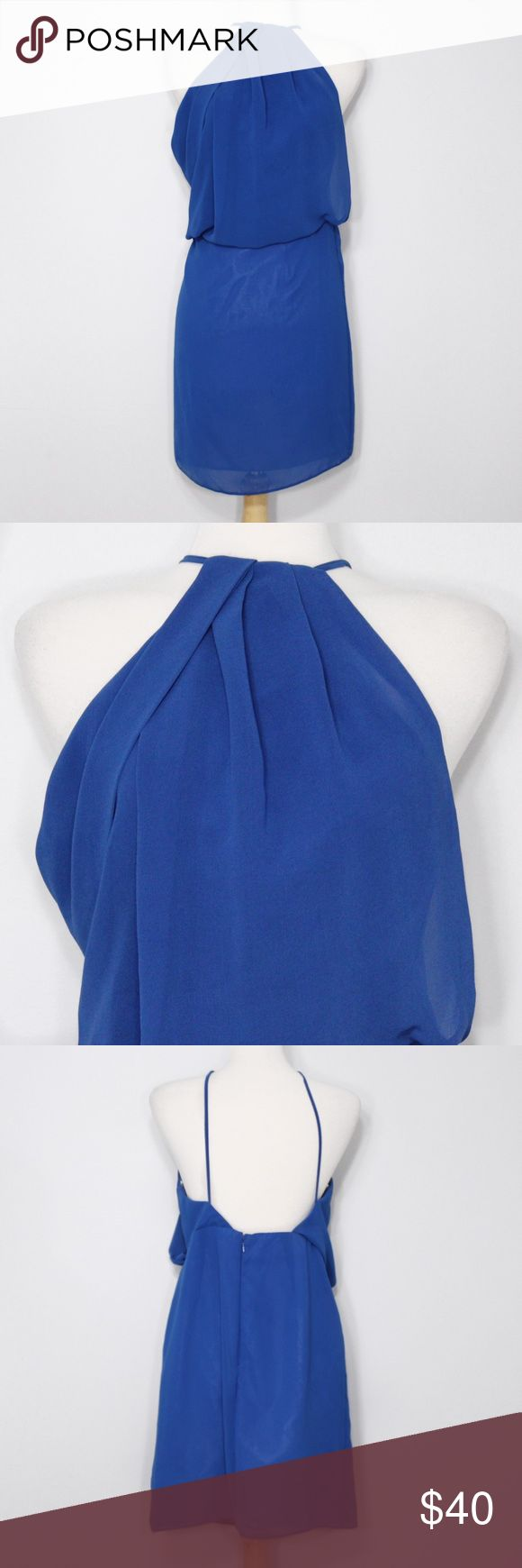 ASOS High-Neck Backless Chiffon Dress A chic dress in great condition! High-neck. Zippers up from back. Polyester. No holes or stains. Comes from a smoke free environment. Measurements to be added. ASOS Dresses