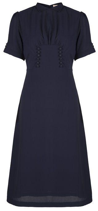 Lindy Bop 'Amelia' Vintage WW2 1940's Landgirl Tea Dress (XS, Navy Blue)