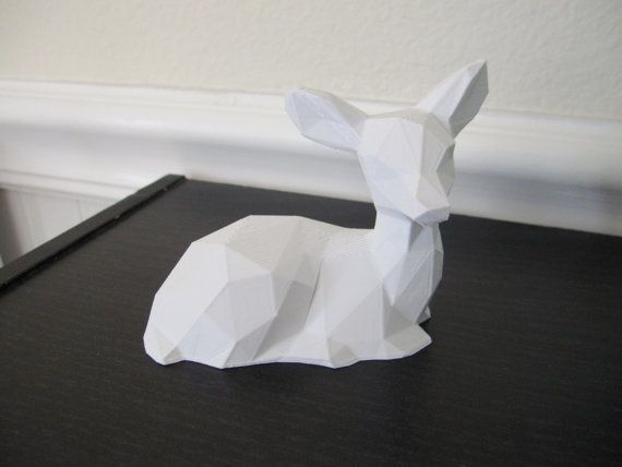 Cute, modern geometric low poly 3d printed fawn deer kid's room / baby's nursery small figurine sculpture - each kawaii cute animal is created using 3d printing and would make the perfect cute geeky baby shower gift.