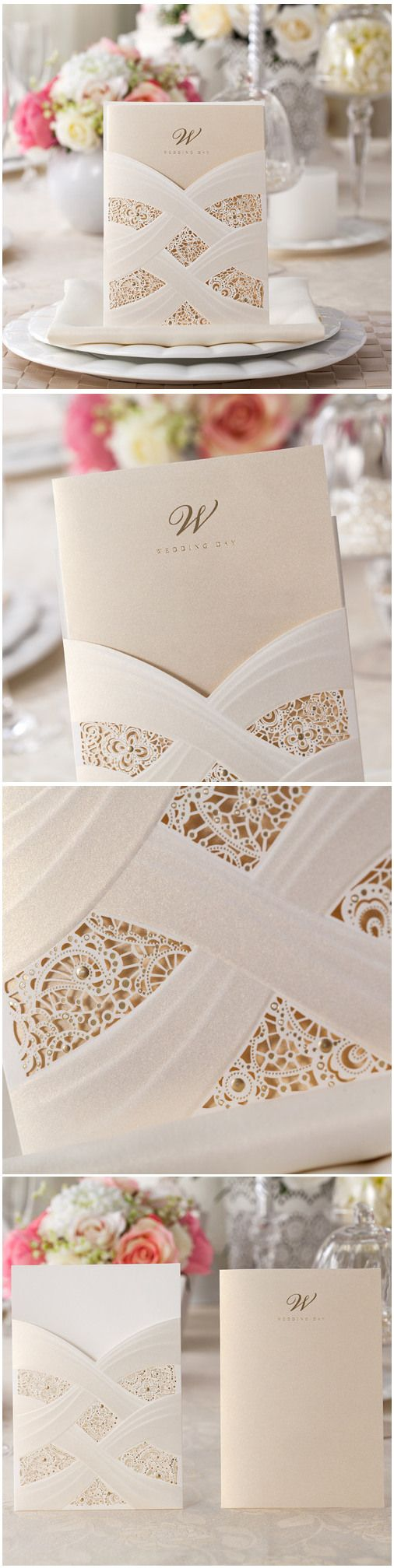 elegant pearl white ivory pocket laser cut lace wedding invitations