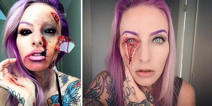 Вы готовы к Хэллоуину? А вот Сара Мадл (Sarah Mudle) готова на все 100 процентов! Только взгляните на ее безумно страшный макияж, и вы стразу же поймете, что мы имеем в виду. Но будьте осторожны &#…