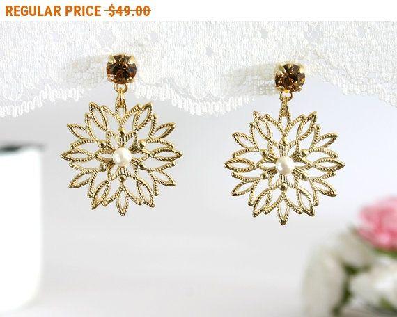 20% OFF - CIJ SALE Winter wedding, Winter wedding earrings, Winter earrings, Christmas wedding, Snowflake wedding, Snowflakes Earrings,
