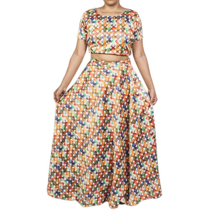 MULTI COLOURED CROP TOP AND LONG SKIRT