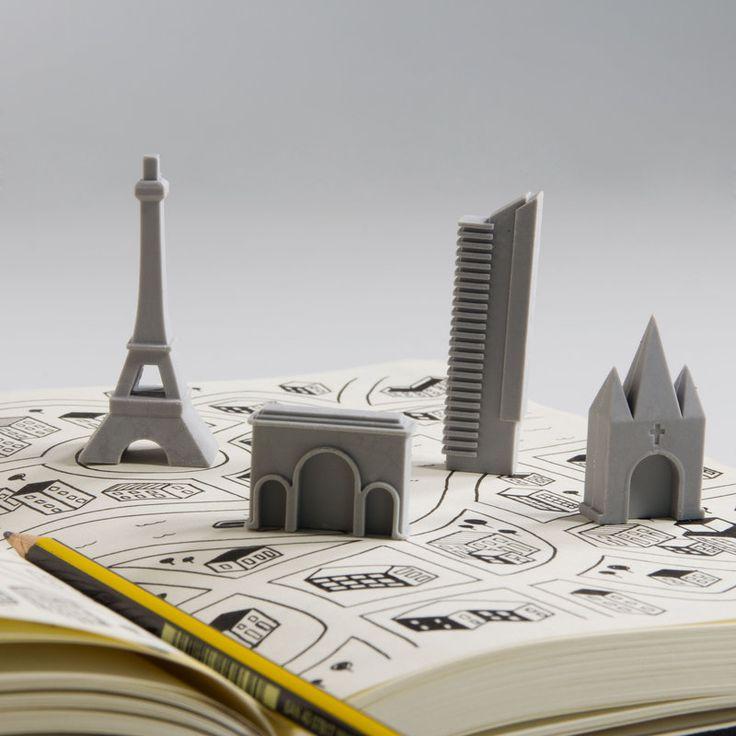 Paris City Eraser Set From Vunk - #paris #erasers #quirky #art