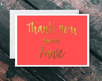 Personalised Thank You Card - Thank You Card Bulk - Thank You Card Pack - Thank You Card Set - Personalised Card - Gold Letter Thank You
