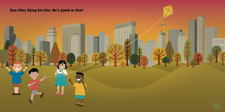 """Spread illustration from the book """"I'm Good At That"""". Illustrated by Robyn Mitchell and written by Melissa Cullen."""