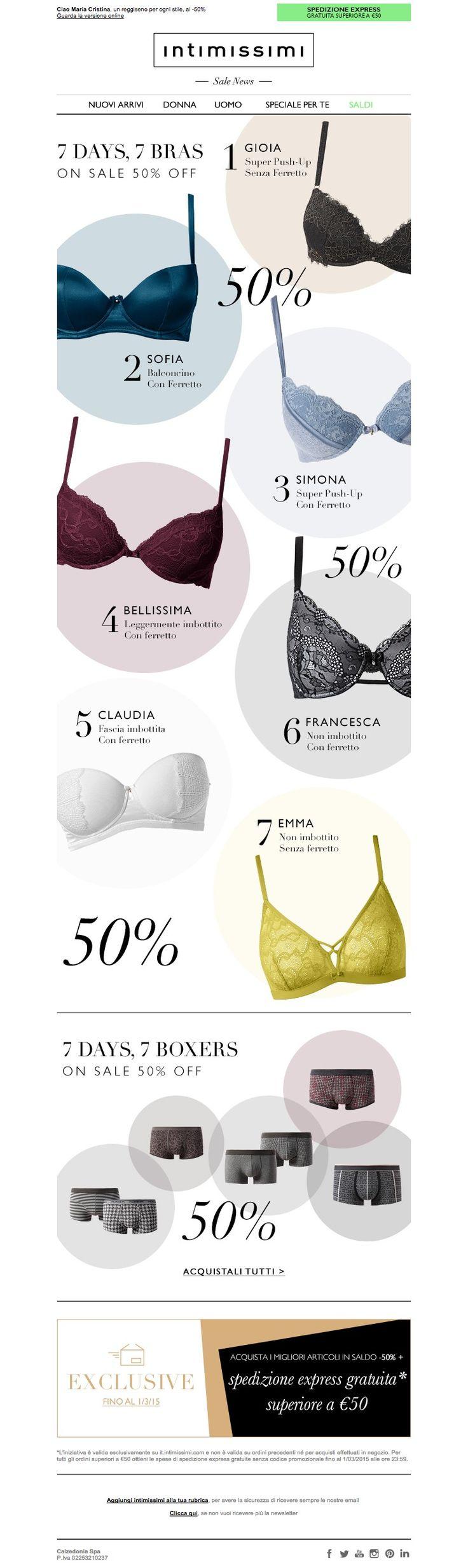 #newsletter Intimissimi 02.2015 Saldi: non ti basterà mai un solo reggiseno, scegli il tuo preferito al -50%!