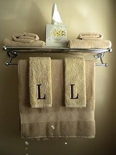 Bathroom Shelf with monogrammed towels. Master Bath decor.