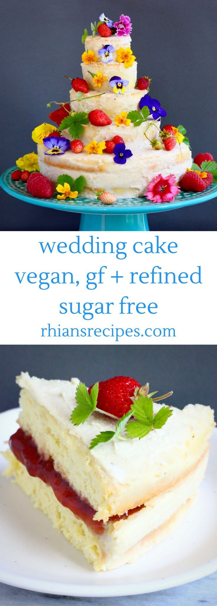 This Gluten-Free Vegan Wedding Cake is easy to make, deceptively impressive and seriously delicious. A simple, vanilla sponge cake sandwiched with white chocolate cashew buttercream and strawberry jam. Refined sugar free.