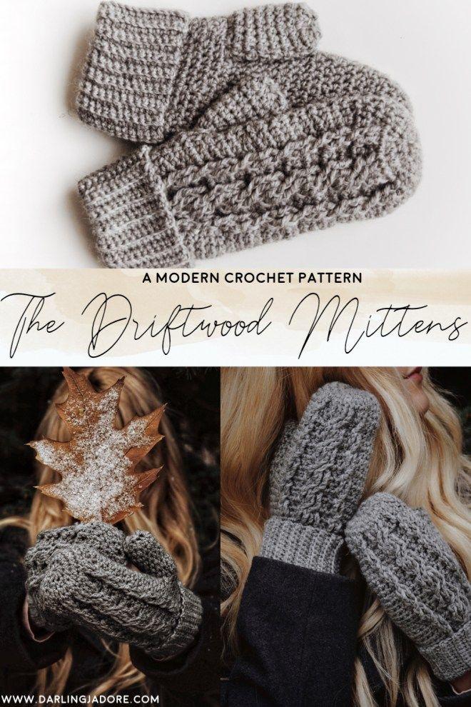 The Driftwood Mittens Crochet Pattern Instant Download Crochet Patterns Crochet Modern Crochet Patterns