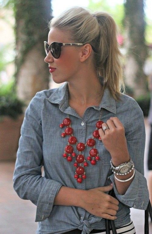 Chambray shirt; red bubble necklace