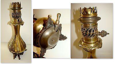 RARE ANCIENNE AUTHENTIQUE LAMPE A PETROLE A GAZ EN BRONZE BEC DE GAZ