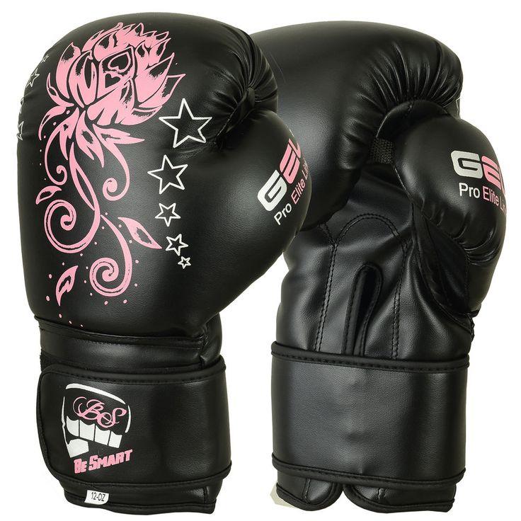 Ladies Pink Gel Boxing Gloves Bag Womens Gym Kick Pads MMA Mitts Muay Thai #BeSmart