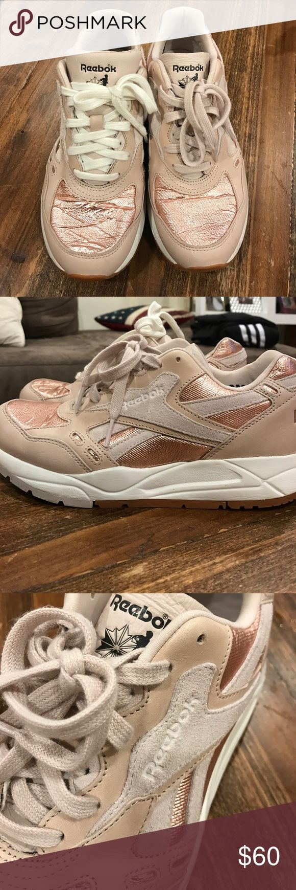 Rose Gold Reebok Classic- only worn once! Metallic tipped, Rose Gold Reebok Classics. Only worn once! Needs new shoelaces- came mismatched Reebok Shoes Sneakers