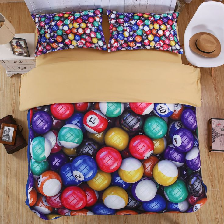 Find More Bedding Sets Information about Creative Billiards 3D Bedding Set Polyester/Cotton Duvet Cover 4pcs Bed Sheet Sets King Queen Twin Size Kids Bedroom Textile,High Quality bedroom measurements,China bedroom shelf Suppliers, Cheap bedroom divider from Lena Small Wholesale Shop on Aliexpress.com