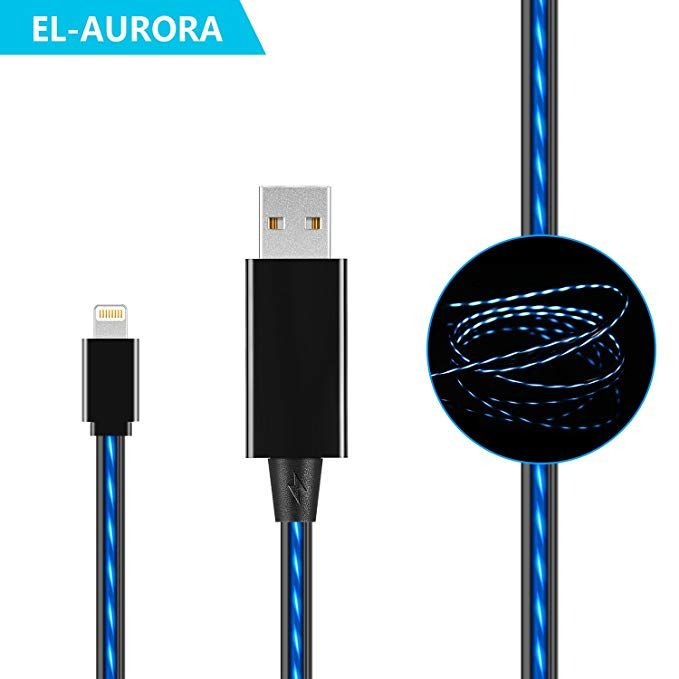 El Aurora Iphone Lightning Charger Cable 3ft Visible Flowing Led