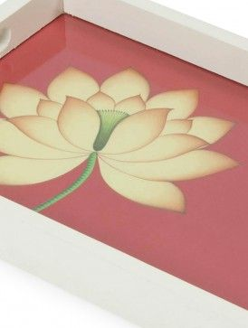 Red Side Lotus Pichwai Folk Art Tray by Indian Artisans Online 13.5in x 8.5in x 1.3in