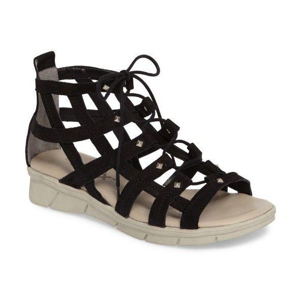 Women's The Flexx Cor-Set Sandal (€135) ❤ liked on Polyvore featuring shoes, sandals, black nubuck, strappy lace up sandals, gladiator sandal, lace up sandals, black wedge sandals and black lace up sandals