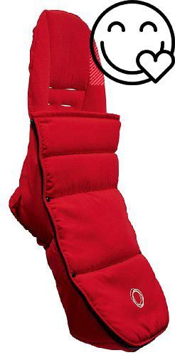 #Bugaboo Bee Footmuff - Red Fleece-lined and machine washable, the Bugaboo Bee footmuff attaches to the seat with openings to accommodate the 5-point harness so ...