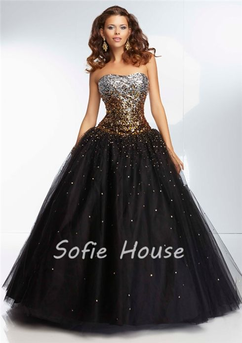Newest long ball gown strapless corset with gold purple crystals beaded black tulle evening graduation party prom dresses 2014 US $175.00