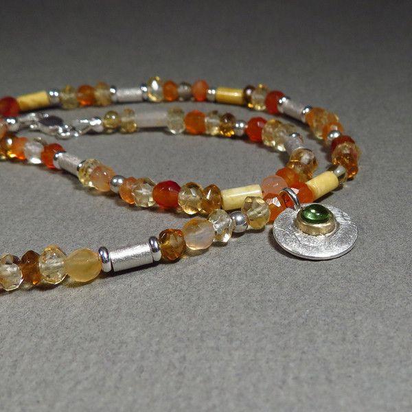 Silberketten - leuchtende Sommerkette Citrin, Karneol, Peridot - ein Designerstück von Hilkka bei DaWanda