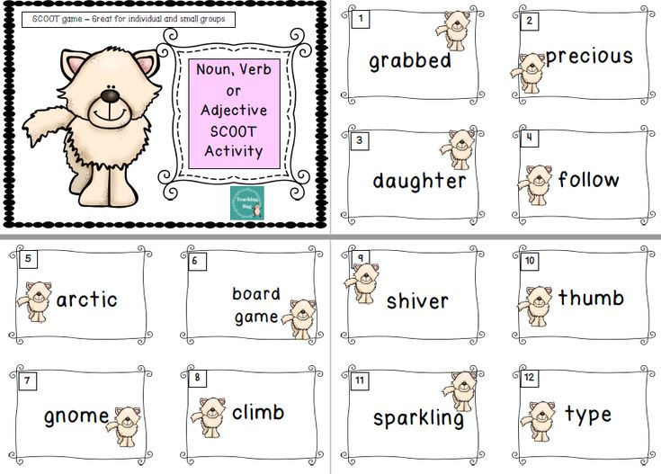 This activity is another Scoot design. The focus is on identifying nouns, verbs and adjectives. An interactive activity.