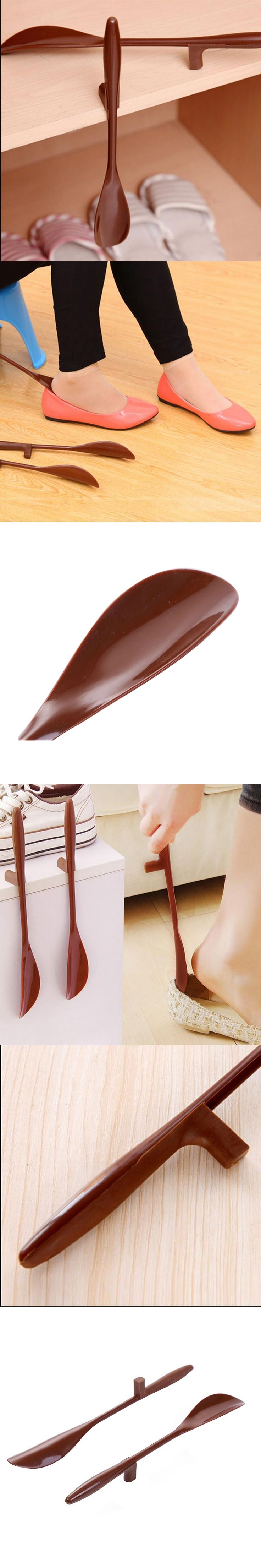 1 Pc Shoes Accessories Shoe Horn Hanging Lengthen PP And TPE Shoehorn Long Shoe Horn For The Aged & Pregnant Woman  P50