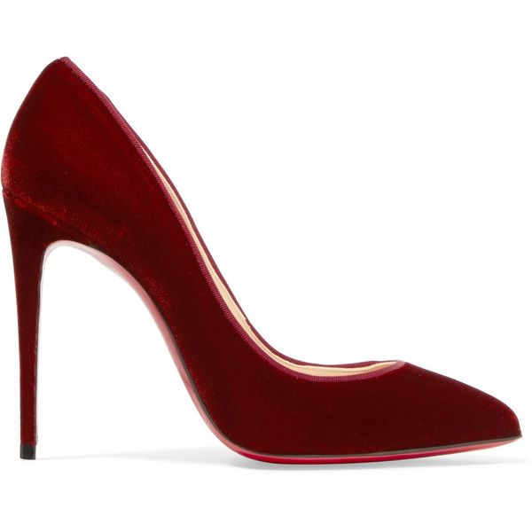 Christian Louboutin Pigalle Follies 100 velvet pumps (2.050 BRL) ❤ liked on Polyvore featuring shoes, pumps, heels, pointed toe shoes, velvet shoes, high heeled footwear, burgundy shoes and velvet slip on shoes