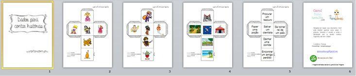 Confeccionei dados com personagens, cenários e situações para trabalhar a narrativa oral e escrita. Podem ser utilizados de diversas maneiras: com alternância de turnos na contação, ir narrando e j…