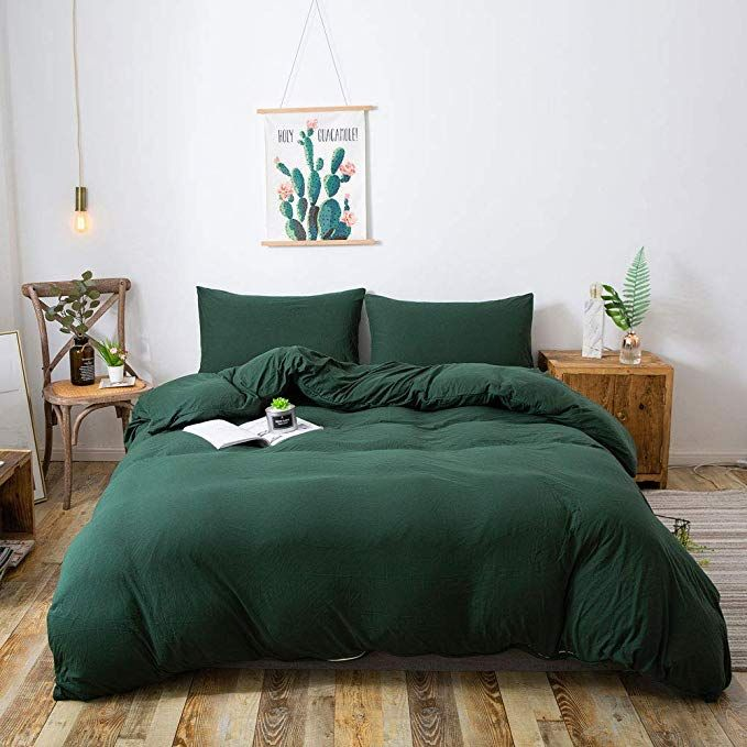 Household 100 Cotton Jersey Knit Duvet Cover Light Weight Comfortable Extremely Durable Includes 2 Pi Green Comforter Bedroom Green Duvet Covers Bedroom Green