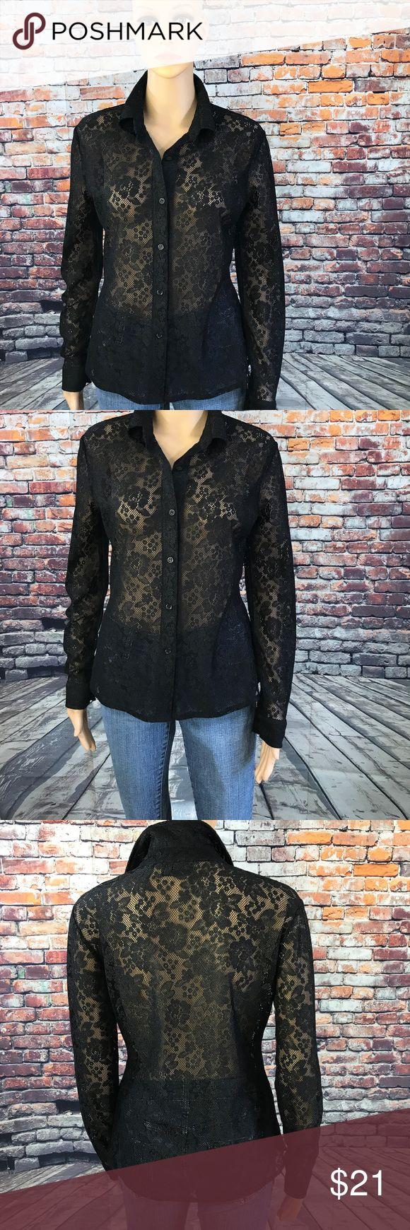 Lace Button Down Shirt Lace Button Down Shirt  68% Polyester  29% Nylon  3% Spandex New York & Company Tops Button Down Shirts