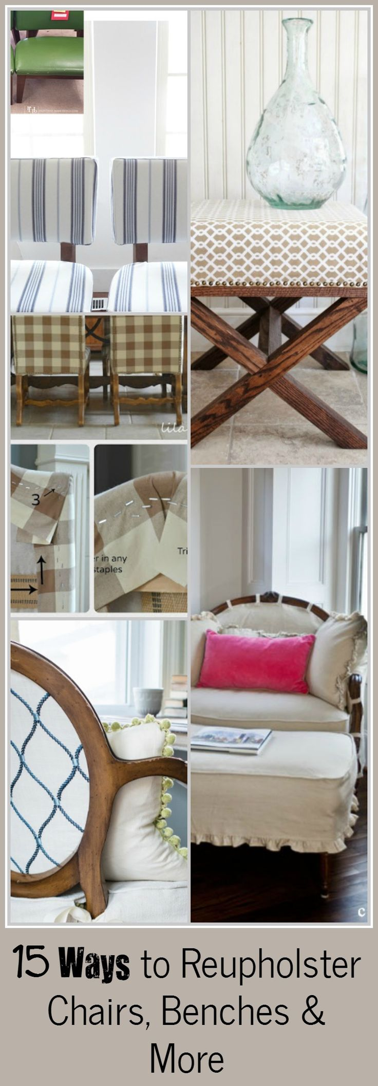 Easy ways to Reupholster furniture! CLICK the link to access hundreds of other tutorials, tips and ideas for DIY home projects.  This site is a MUST for any DIYer.