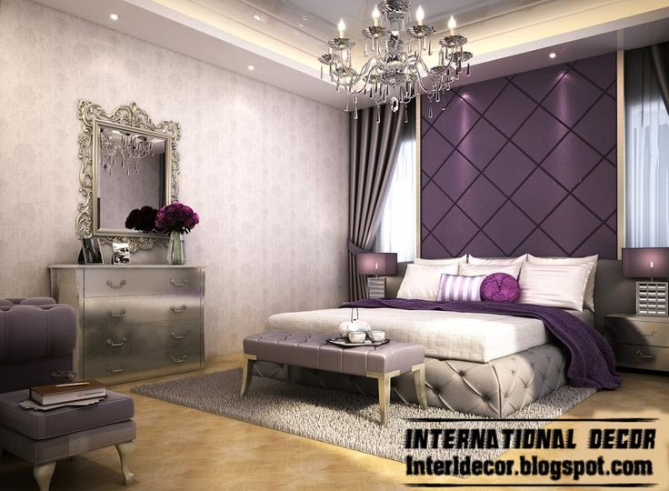 Modern Bedroom Design And Purple Wall Decoration Ideas With Hanging Lamps And White Pillow And Purple Blanket Gray Carpet And Bedside Table ...