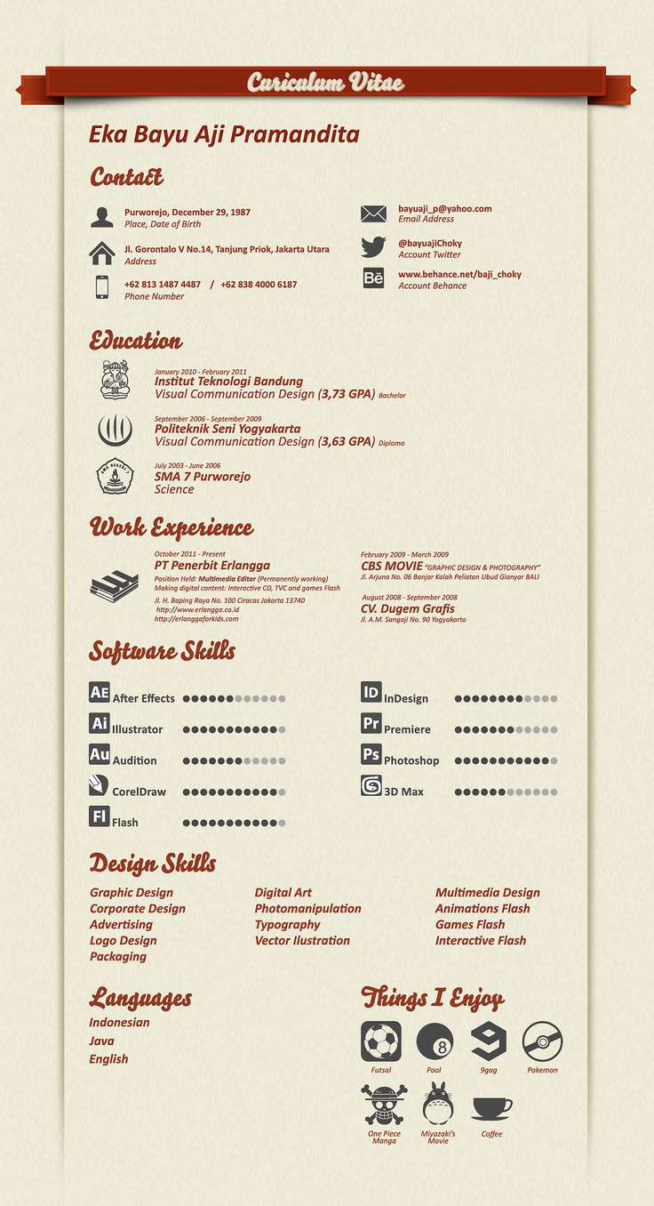 24 Best Creative Cv Images On Pinterest Graphics Cooking